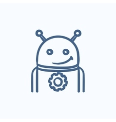 Robot with gear sketch icon vector