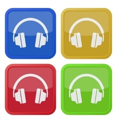 Set of four square icons with headphones vector