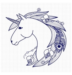 Unicorn on squared paper vector