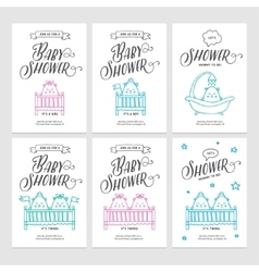 Baby shower invitations doodle collection vector