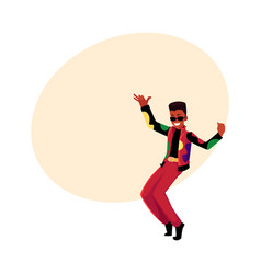 Black african man guy in 1980s style clothes vector