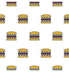 Burger line icon seamless pattern vector