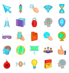 commercial advertising icons set cartoon style vector image vector image