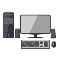 Computer monitor keyboard and mouse vector