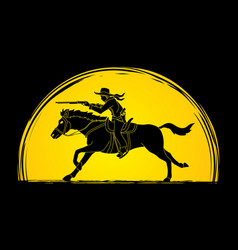 Cowboy on horse aiming rifle vector