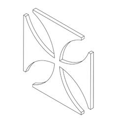 Cross icon isometric 3d vector