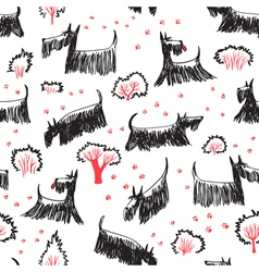 doodle seamless pattern with Scotch Terrier dog vector image