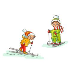 flat cartoon boys skiing isolated vector image vector image