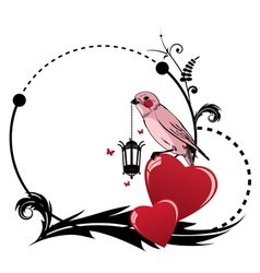 frame with bird and heart vector image