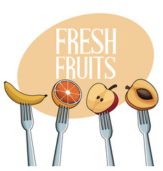 fresh fruits with fork image vector image