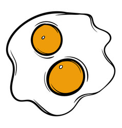 Fried eggs icon cartoon vector