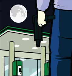 Gas station robbery vector