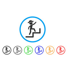 Gentleman steps upstairs rounded icon vector