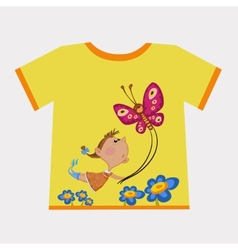 Girl flying butterfly vector