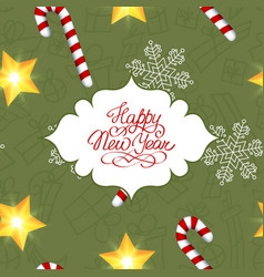 happy new year seamless pattern vector image