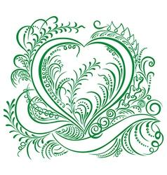 Heart calligraphy green vector