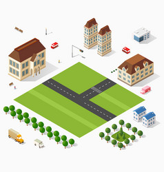 Isometric retro set 3d urban module of the city vector