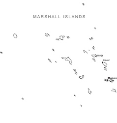 Marshall Islands Black White Map With Major Cities vector image