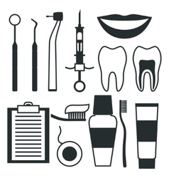 Medical dental equipment icons set in flat style vector image
