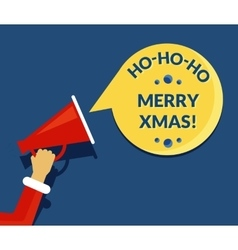 Merry xmas speech bubble from megaphone vector