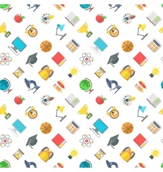 Modern Flat School Icons Seamless Pattern vector image