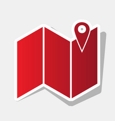 Pin on the map new year reddish icon with vector