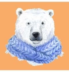 Polar bear in a blue scarf vector image vector image