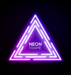 Purple neon light triangles shining techno frame vector