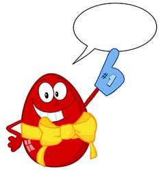 Red Easter Egg With Speech Bubble vector image vector image