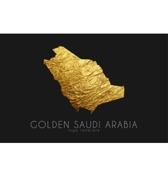 Saudi arab map Golden Saudi Arab logo Creative vector image