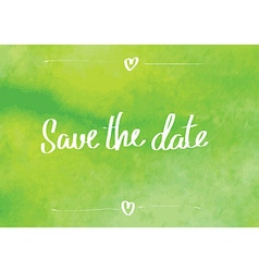 Save the date typographic green vector