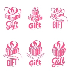 Set of pink and white graphic gift box logo vector