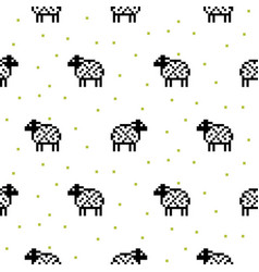 sheep black and white cartoon pixel art seamless vector image vector image