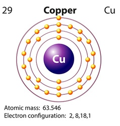 Symbol and electron diagram for Copper vector image
