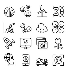 Technology icon set in thin line style vector