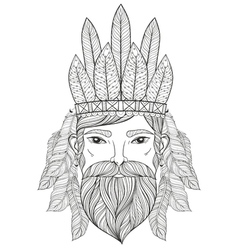Zentangle portrait of man with mustache beard war vector
