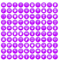 100 pensil icons set purple vector