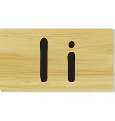 wooden letter I vector image