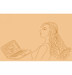 Pretty business woman working on laptop computer vector image
