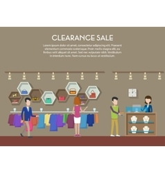 Clearance sale at shop or store interior view vector