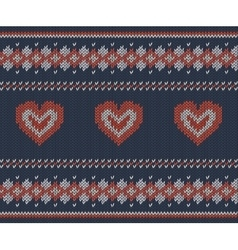 Striped pattern with hearts on blue background vector image