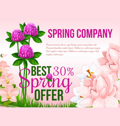 Spring holiday sale floral poster vector