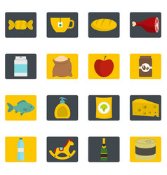 Shop navigation foods icons set in flat style vector