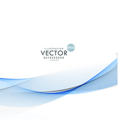Modern clean blue wave flowing on white background vector