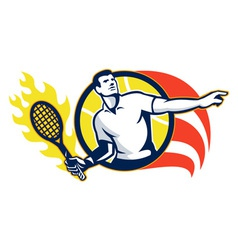 Tennis player flaming racquet ball retro vector