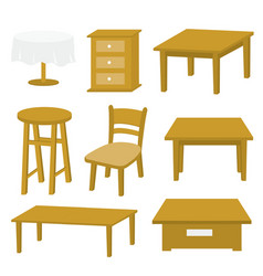 table chair furniture wood design vector image