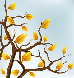 Autumn branch with yellow leaves vector