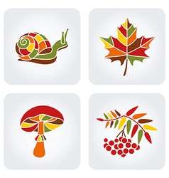 Mosaic autumn icons vector