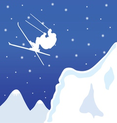 Skiing in winter vector