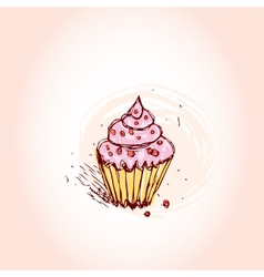 Cupcakes with pink cream hand drawn sketch on pink vector